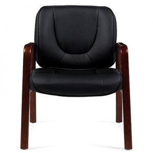 Luxhide Guest Chair with Wood Accents